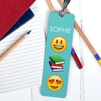 Personalised Emoji Bookmark, Teal/Raspberry/Grey