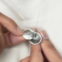 Silver And Gold Daisy Fingerprint Locket, Silver