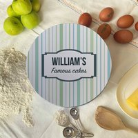 Personalised Retro Stripe Circle Cake Tin