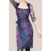 Long Sleeve Lace Dress In Midnight And Currant