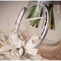 Personalised Pearl Lucky Wedding Horseshoe Gift, Ivory/Dusky Pink/Pink