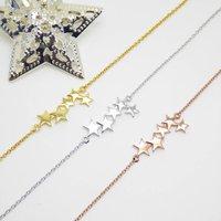 Plain Five Star Bracelet Sterling Silver Rose Gold, Silver