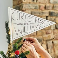 Personalised Pennant Flag Christmas Tree Topper