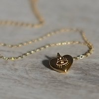 Gold Evil Eye Heart Necklace, Gold