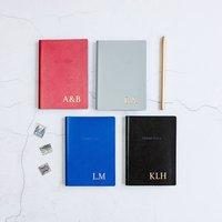 Slim Personalised Leather Address Book, Orange/Lilac/Dark Purple