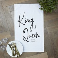 Personalised 'King And Queen' Tea Towel