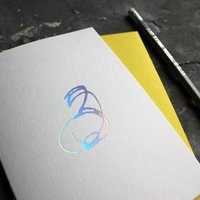 'Number Three' Birthday Card Holographic Foil
