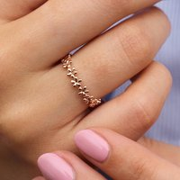 18ct Rose Gold Band Of Flowers Ring, Gold