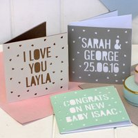 Personalised Papercut Cards, Grey/Mint Green/Mint