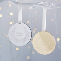 Personalised Babys First Metal Wreath Decoration, Silver/Gold