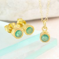 Emerald Precious May Birthstone Gold Jewellery Set, Gold