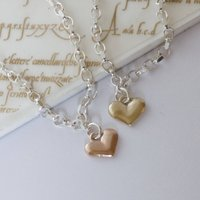 Silver Bracelet With 9ct Gold Love Heart, Silver