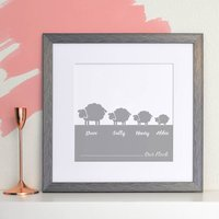 Personalised Flock Of Sheep Family Print, Red/Blue/Grey