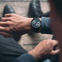 Gents Black Mesh Strap Pembrey Watch