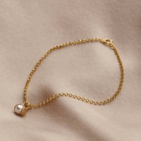 9ct Gold Pearl And Shell Charm Bracelet, Gold