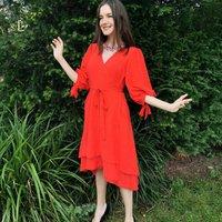 Anna Coral Red Linen Blend Wrap Dress