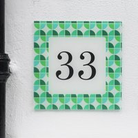 Personalised House Number Sign, Retro Biba Green