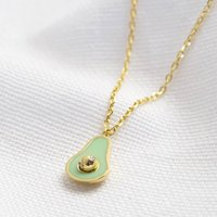 Enamel Avocado Pendant Necklace In Gold, Gold
