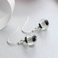 Black And Silver Striped Glass Earrings, Silver