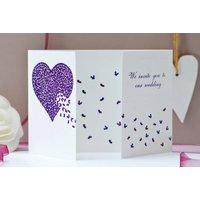 Wedding Butterfly Heart Invite, Red/Pink/Purple