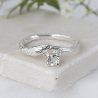 Silver Willow Twig Ring, Silver Engagement Ring, Silver