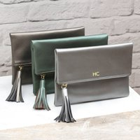 Monogrammed Luxury Italian Leather Foldover Clutch Bag