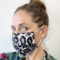 Grey And Black Leopard Print 100% Cotton Face Mask