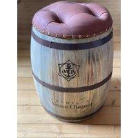 Veuve Clicquot Champagne, Light Wooden Barrel Stool