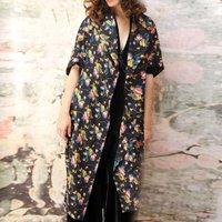 Kimono Coat In Boheme Bloom Print Crepe