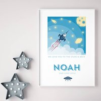 Personalised Space Rocket Print, Pink/Turquoise Blue/Turquoise