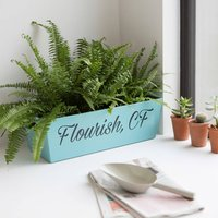 Personalised Metal Planter, Blue/Pale Green/Green
