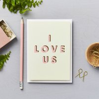 I Love Us Card Pink And Dark Green Text