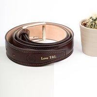 Personalised Leather Waist Belt. 'The Franco', Chestnut/Tan/Dark Chocolate