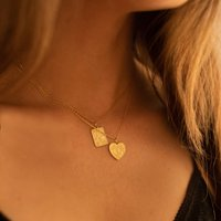 Chunky 14 K Gold Plated Silver Heart Love Necklace Set, Silver