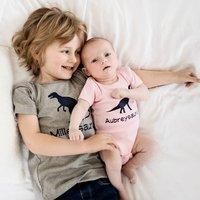 Brother And Sister Dinosaur T Shirt And Babygrow Set, White/Aqua/Blue