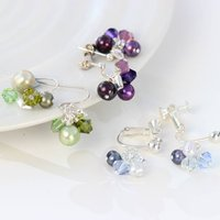 Pearl Cluster Earrings in Many Colours, Pale Blue/Blue/Red