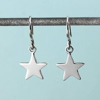 Silver Star Drop Earrings, Silver