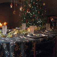 Luxury Designer Christmas Tablecloth Mistletoe Navy