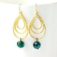 Gold Textured Teardrop Teal Earrings, Gold
