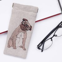 Embroidered Pug Glasses Case