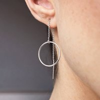 Sterling Silver Circle Threader Earrings, Silver