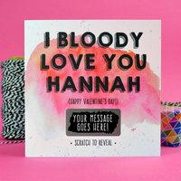 I Bloody Love You Scratch Card, Purple/Blue/Pink