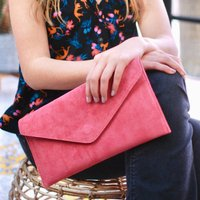 Personalised Summer Colours Suede Envelope Clutch Bag
