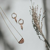 Delicate Lunar Necklace And Earring Rose Gold Gift Set, Gold
