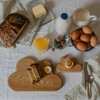 Wooden Cloud Breakfast Board And Egg Cup Set