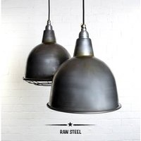 Stourton Industrial Factory Pendant Light, Black/White/Red