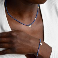 Initial Necklace And Bracelet Set