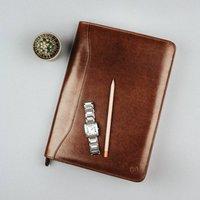 Luxury A4 Leather Conference Folder. 'The Dimaro', Chestnut/Tan/Dark Chocolate
