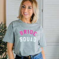 Personalised 'Bride Squad' Hen Party T Shirt, Black/Grey