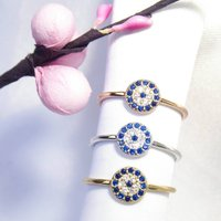 Evil Eye Band Ring Cz 925 Silver Yellow Rose Gold, Silver